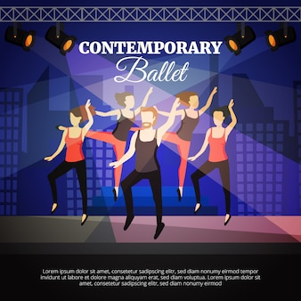 Cartel de ballet contemporáneo con bailarines y escenario.