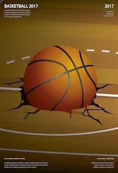 Cartel de baloncesto publicidad ilustración vectorial