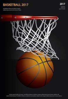 Cartel de baloncesto publicidad ilustración