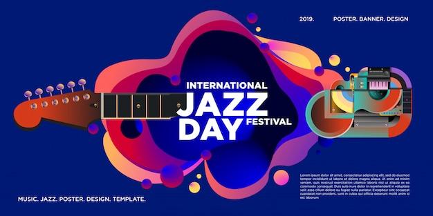 Cartel y banner del día internacional del jazz.