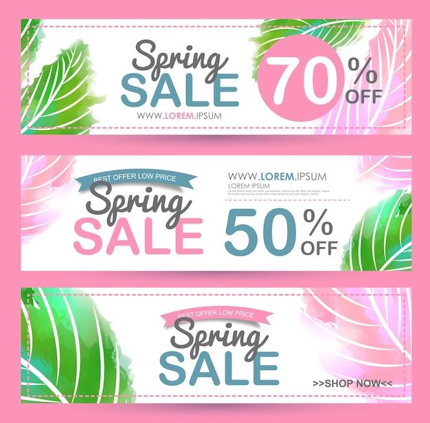 Cartel de banner de venta de primavera.