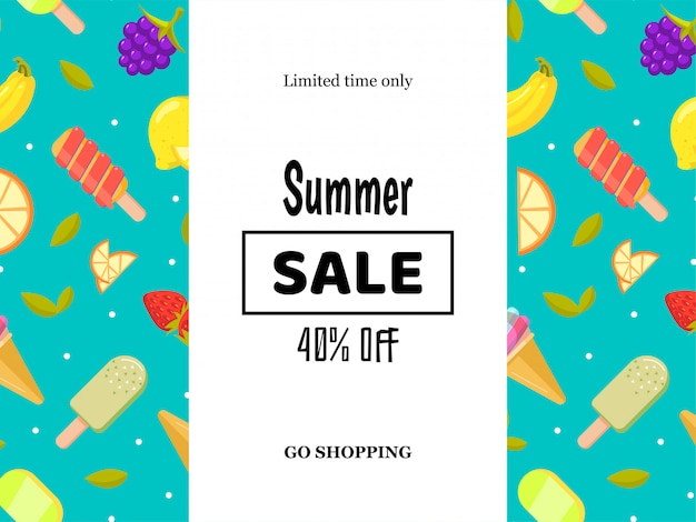Cartel de banner de venta de verano con frutas y helado.
