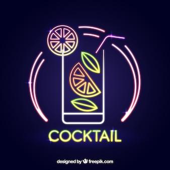 Cartel de bar de cócteles con estilo de luces neón