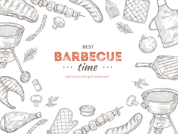 Cartel de barbacoa vintage. barbacoa doodle parrilla pollo barbacoa verduras a la parrilla filete frito carne picnic fiesta de verano invitación