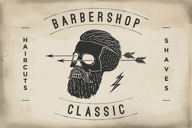 Cartel de la barbería en una textura de papel de color beige