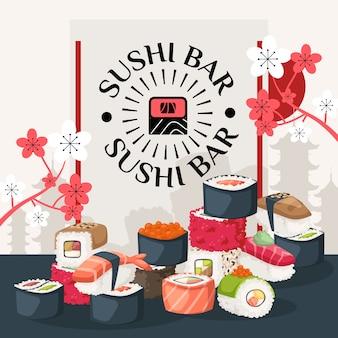 Cartel de la barra de sushi, ilustración. portada del menú del restaurante asiático, folleto de publicidad de entrega de sushi,