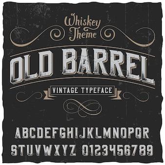 Cartel de barril antiguo con decoración y cinta en estilo vintage