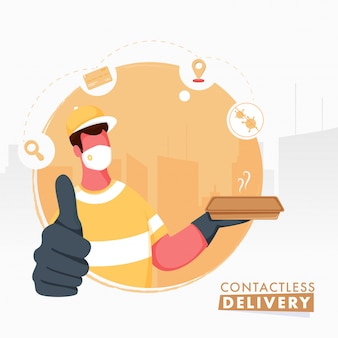 Cartel basado en el concepto de entrega sin contacto con el hombre mensajero sin rostro con máscara protectora y mostrando el símbolo del pulgar hacia arriba.