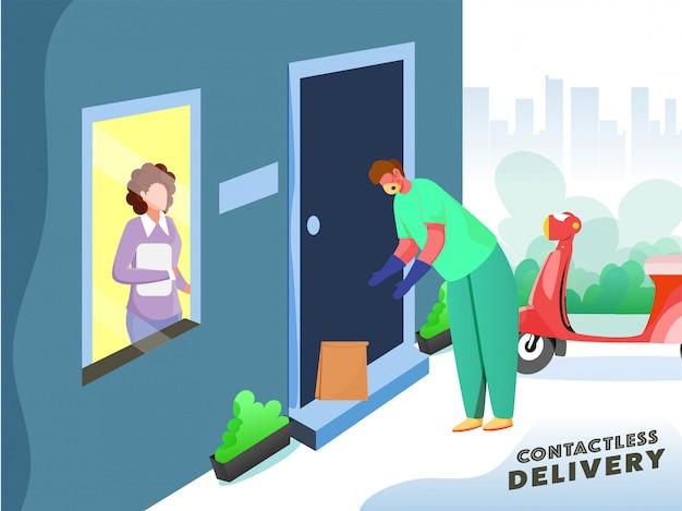 Cartel basado en concepto de entrega sin contacto, paquete de repartidor en puerta con mujer cliente mirando desde la ventana y scooter sobre fondo azul blanco y verde azulado.