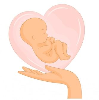 Cartel con bebé recién nacido en corazón