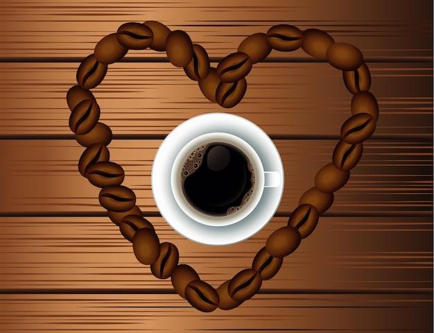 Cartel de bebida de café delicioso con taza y granos de corazón en fondo de madera