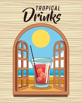 Cartel de bebida de cóctel tropical