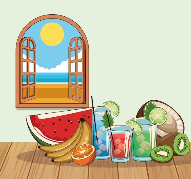 Cartel de bebidas de cóctel tropical