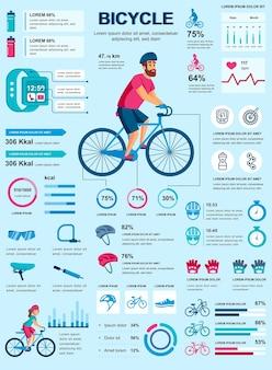 Cartel de bicicleta con plantilla de elementos infográficos en estilo plano