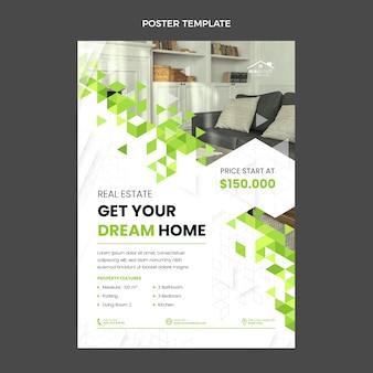 Cartel de bienes raíces geométrico abstracto de diseño plano