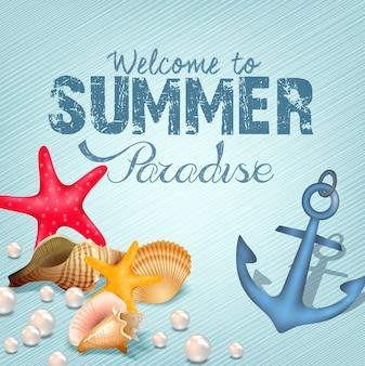 Cartel de bienvenida de paraíso de verano
