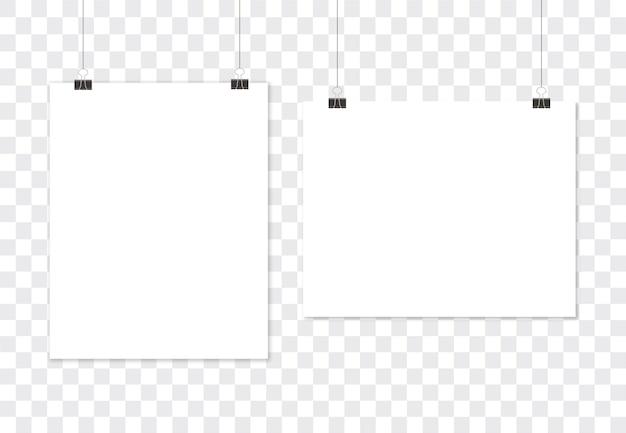 Cartel blanco colgado, papel en blanco. plantilla vertical y horizontal.