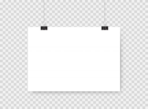 Cartel blanco colgando. marco de la foto