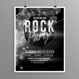 Cartel en blanco y negro para una fiesta de rock
