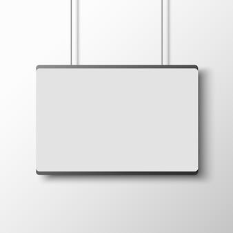Cartel blanco sobre pared blanca. .