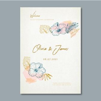 Cartel de boda con adornos florales.