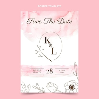 Cartel de boda dibujado a mano en acuarela