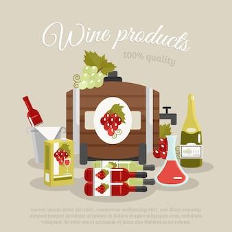 Cartel de bodegones de vida plana de productos de vino
