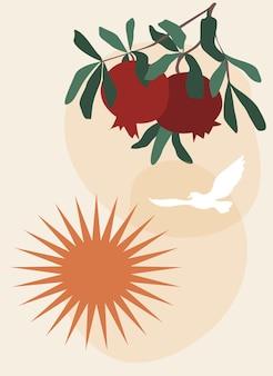 Cartel de boho con rama de granada y pájaro volador y sol naciente
