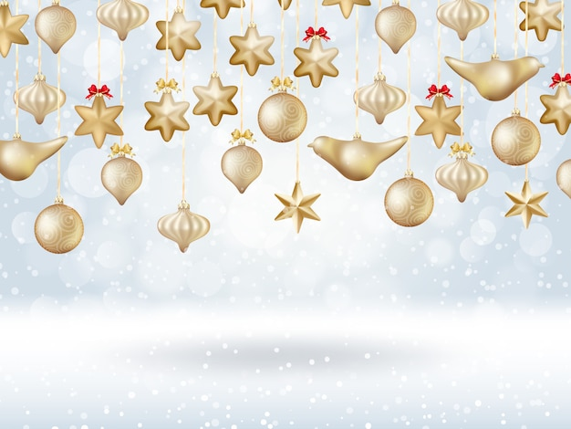 Cartel bokeh de navidad con árbol hecho de adornos de oro.