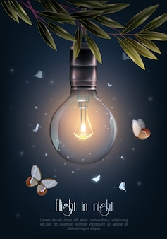 Cartel de las bombillas del vintage que brilla intensamente