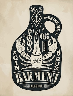 Cartel botella de alcohol con letras dibujadas a mano