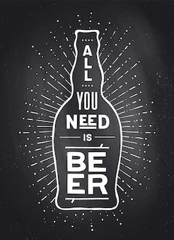 Cartel con botella de cerveza a la cerveza o no a la cerveza