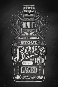 Cartel de botella de cerveza con letras dibujadas a mano