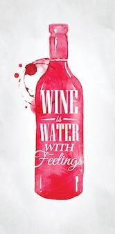 Cartel con botella de letras vino es agua con sentimientos dibujando sobre papel sucio.