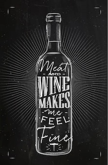 Cartel de botella de vino con letras de carne y vino me hace sentir bien dibujar en estilo vintage con tiza en la pizarra