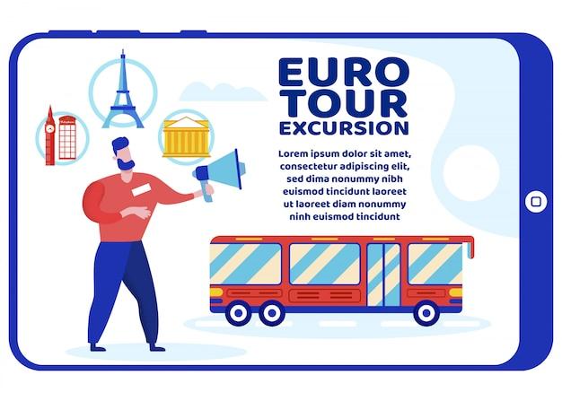 Cartel brillante está escrito excursión euro tour