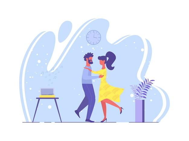 Cartel brillante pareja amorosa danza dibujos animados plana.