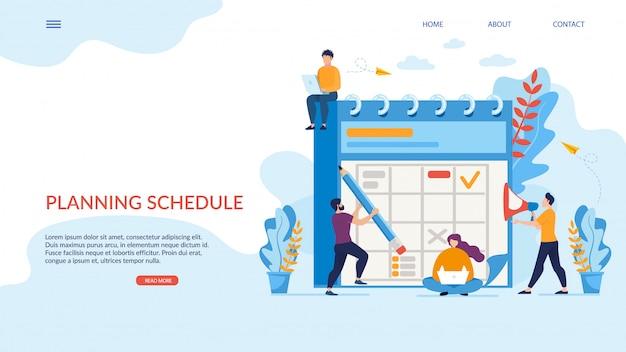 Cartel brillante planificación horario rotulación plana.