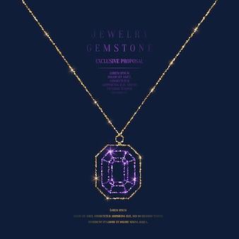 Cartel brillante con un precioso colgante con una cadena de purpurina dorada sobre un fondo oscuro con campo para texto.