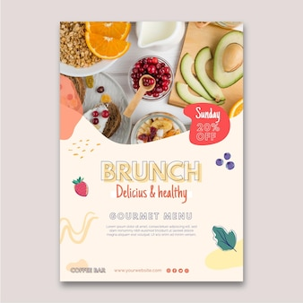 Cartel de brunch delicioso y saludable.
