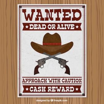 Cartel de se busca con sombrero y pistolas