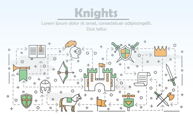 Cartel de caballeros medievales de arte de línea delgada