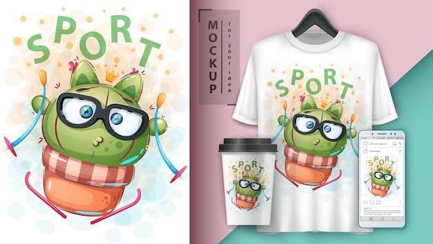 Cartel de cactus deportivo y merchandising