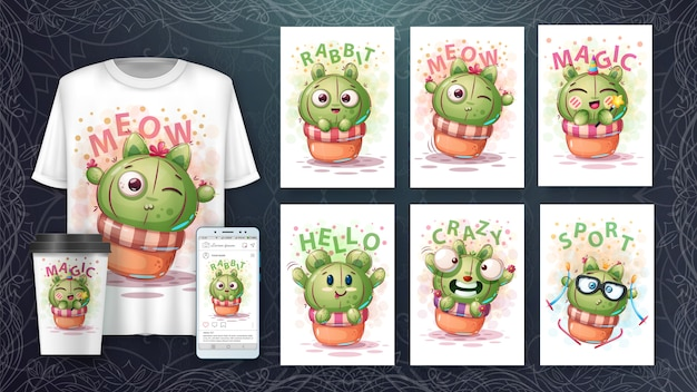 Cartel de cactus dulce y merchandising