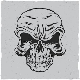 Cartel de calavera enojada con ilustración de colores negro y gris