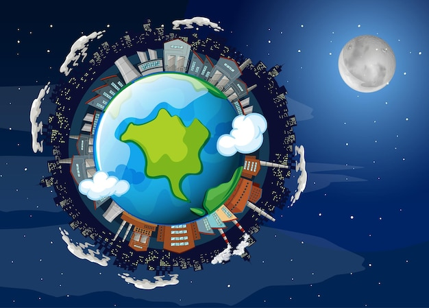 Cartel de calentamiento global con edificios en la tierra.