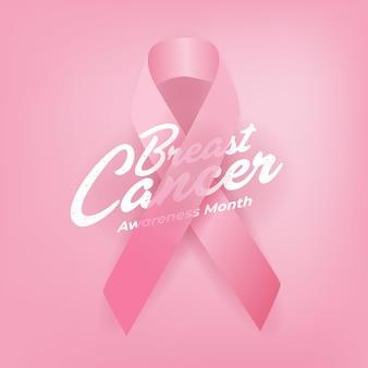 Cartel de caligrafía de conciencia de cáncer de mama.