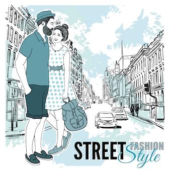 Cartel de calle de la ciudad de moda de pareja