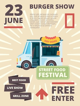 Cartel de camión de comida. entrega de productos festival invita a coches con banner de fiesta burguesa de cocina