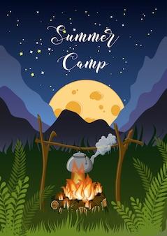 Cartel del campamento de verano con la montaña de noche, hierba, paisaje lunar, fogata, hervidor de agua en el cielo estrellado.